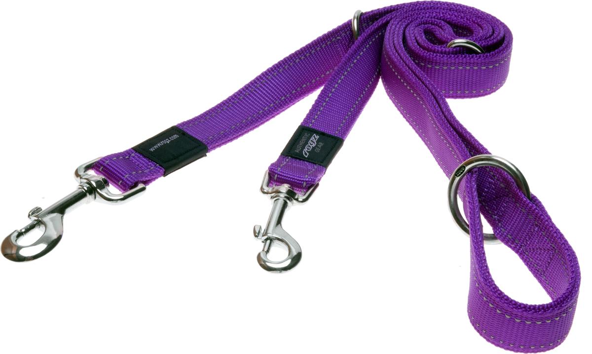 Поводок-перестежка для собак Rogz Utility, цвет: фиолетовый, ширина 2,5 см. Размер XLHLM05EПоводок-перестежка для собак Rogz Utility  со светоотражающей нитью, вплетенной в нейлоновую ленту, обеспечивает лучшую видимость собаки в темное время суток. Специальная конструкция пряжки Rog Loc - очень крепкая (система Fort Knox). Замок может быть расстегнут только рукой человека. Технология распределения нагрузки позволяет снизить нагрузку на пряжки, изготовленные из титанового пластика, с помощью правильного и разумного расположения грузовых колец, благодаря чему, даже при самых сильных рывках, изделие не рвется и не деформируется.Выполненные специально по заказу ROGZ литые кольца гальванически хромированы, что позволяет избежать коррозии и потускнения изделия. Многофункциональный поводок-перестежку можно использовать как: поводок для двух собак; короткий, средний или удлиненный поводок (1м, 1.3м, 1.6м); поводок через плечо; временную привязь.