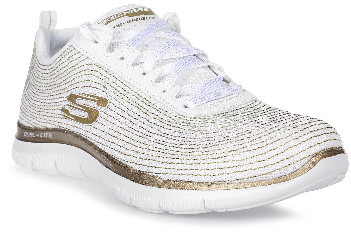Кроссовки женские Skechers Flex Appeal 2.0-Metal Madness, цвет: белый, золотой. 12764-WGD. Размер 7,5 (38,5)12764-WGD