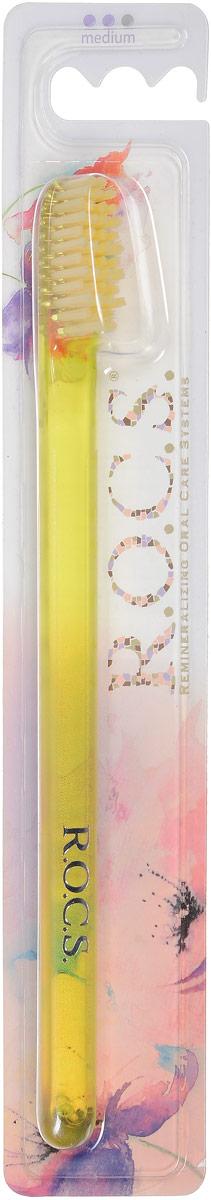 R.O.C.S. Зубная щетка  Модельная , средняя жесткость, цвет: желтый - Товары для гигиены
