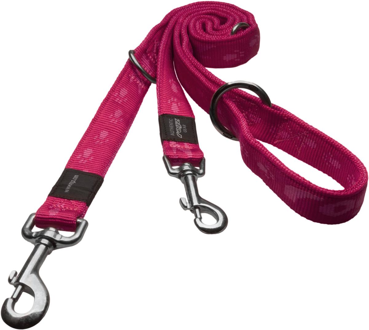 Поводок перестежка для собак Rogz Alpinist, цвет: розовый, ширина 1,6 см, длина 1,78 м. Размер MHLM23KОсобо мягкий, но очень прочный поводок Rogz Alpinist обеспечит безопасность на прогулке даже самым активным собакам.Все соединения деталей имеют специальную дополнительную строчку для большей прочности.Выполненные специально по заказу Rogz литые кольца гальванически хромированы, что позволяет избежать коррозии и потускнения изделия.Многофункциональный поводок-перестежку можно использовать как: поводок для двух собак; короткий, средний или удлиненный поводок (1м; 1,3 м; 1,6 м); поводок через плечо; временную привязь.