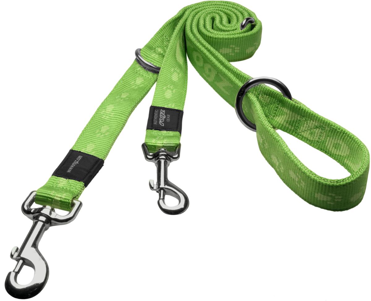 Поводок-перестежка для собак Rogz Alpinist, цвет: зеленый, ширина 2 см. Размер L rogz ошейник для собак rogz alpinist s 11мм зеленый
