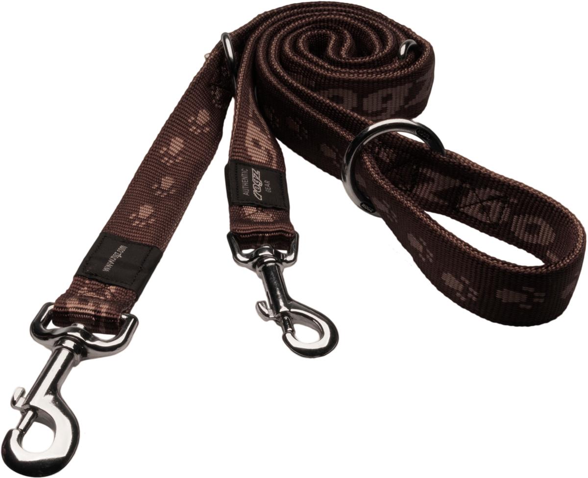 Поводок-перестежка для собак Rogz Alpinist, цвет: коричневый, ширина 2 см. Размер LHLM25JОсобо мягкий, но очень прочный поводок Rogz Alpinist обеспечит безопасность на прогулке даже самым активным собакам.Все соединения деталей имеют специальную дополнительную строчку для большей прочности.Выполненные специально по заказу Rogz литые кольца гальванически хромированы, что позволяет избежать коррозии и потускнения изделия.Многофункциональный поводок-перестежку можно использовать как: поводок для двух собак; короткий, средний или удлиненный поводок (1м, 1.3м, 1.6м); поводок через плечо; временную привязь.