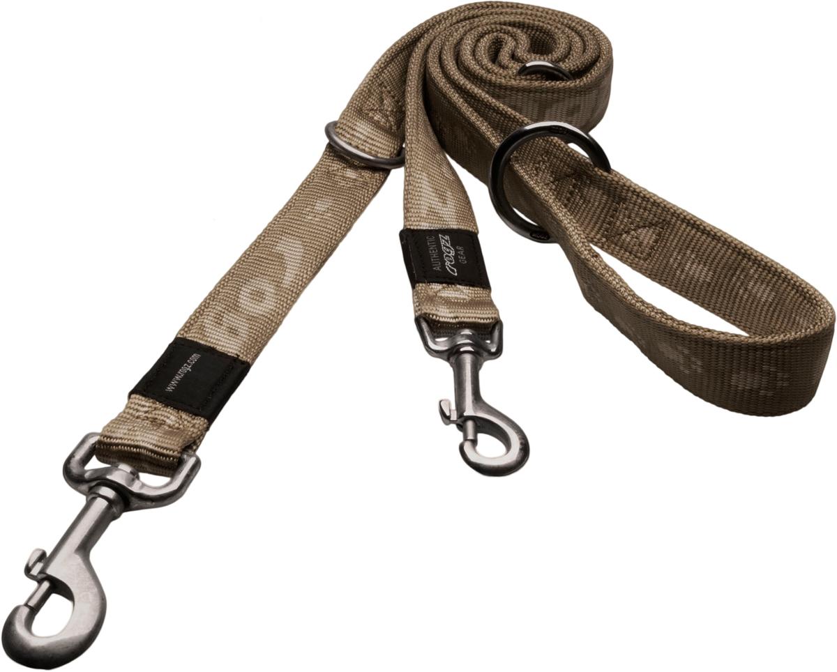 Поводок-перестежка для собак Rogz Alpinist, цвет: золотистый, ширина 2 см. Размер LHLM25MОсобо мягкий, но очень прочный поводок Rogz Alpinist обеспечит безопасность на прогулке даже самым активным собакам.Все соединения деталей имеют специальную дополнительную строчку для большей прочности.Выполненные специально по заказу Rogz литые кольца гальванически хромированы, что позволяет избежать коррозии и потускнения изделия.Многофункциональный поводок-перестежку можно использовать как: поводок для двух собак; короткий, средний или удлиненный поводок (1м, 1.3м, 1.6м); поводок через плечо; временную привязь.