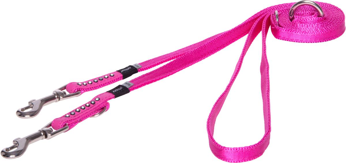 Поводок-перестежка для собак Rogz Luna, цвет: розовый, ширина 1,1 см. Размер XSHLM500KПоводок для собак Rogz Luna изготовлен из 100% полиэстера, искусственной кожи и снабжен металлическим карабином. Поводок украшен стразами.Многофункциональный поводок-перестежку можно использовать как: поводок для двух собак; короткий, средний или удлиненный поводок (1м, 1.3м, 1.6м); поводок через плечо; временную привязь. Поводок отличается не только исключительной надежностью и удобством, но и ярким дизайном.