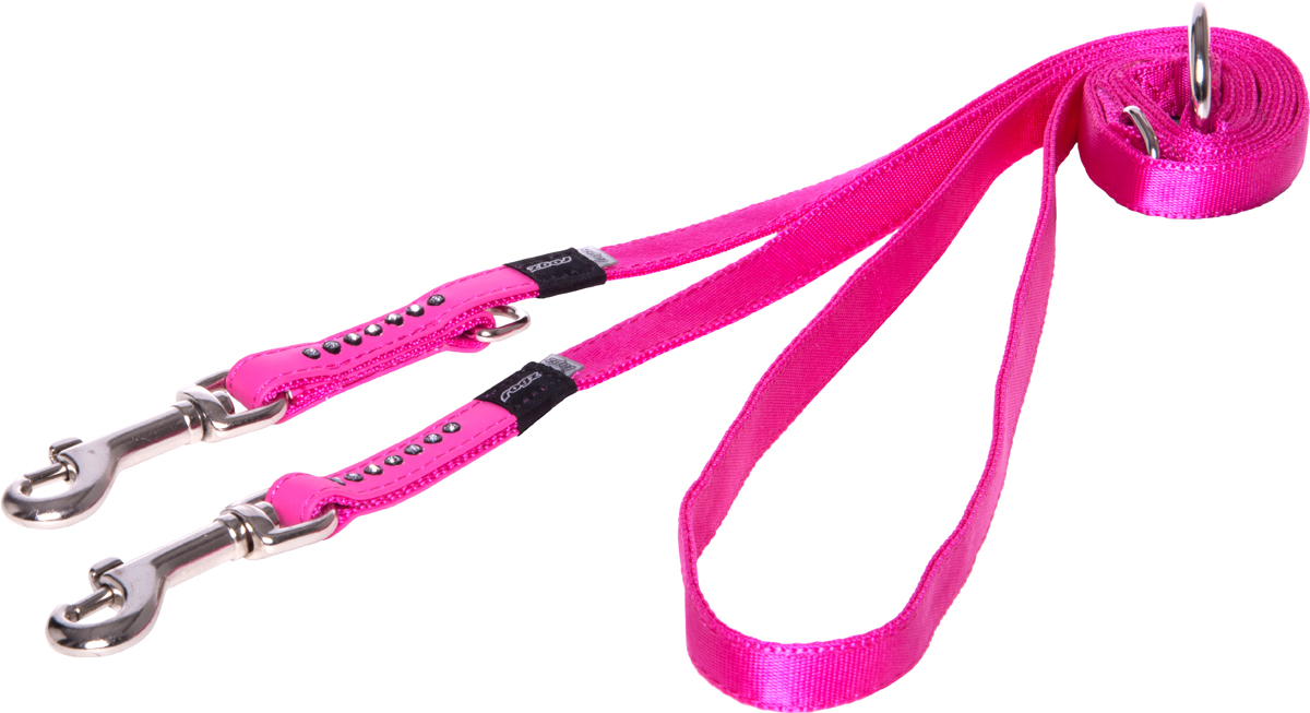 Поводок-перестежка для собак Rogz Luna, цвет: розовый, ширина 1,3 см. Размер SHLM501KПоводок для собак Rogz Luna изготовлен из 100% полиэстера, искусственной кожи и снабжен металлическим карабином. Поводок украшен стразами.Многофункциональный поводок-перестежку можно использовать как: поводок для двух собак; короткий, средний или удлиненный поводок (1м, 1.3м, 1.6м); поводок через плечо; временную привязь. Поводок отличается не только исключительной надежностью и удобством, но и ярким дизайном.