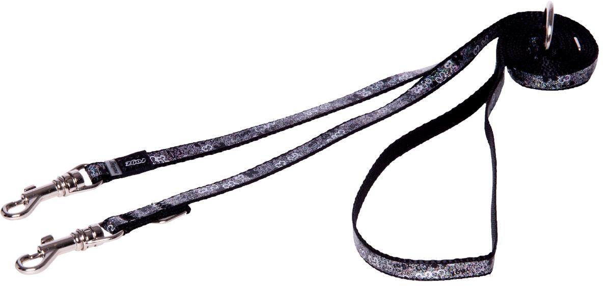 Поводок-перестежка для собак Rogz Trendy, цвет: черный, ширина 0,8 см поводок для собак rogz alpinist цвет золотистый ширина 4 см размер xxl