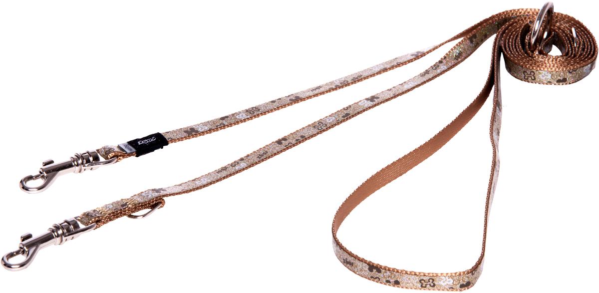 Поводок-перестежка для собак Rogz Trendy, цвет: коричневый, ширина 0,8 смHLM520JПоводок-перестежка для собак Rogz Trendy с веселым и ярким дизайном очень прочный и гибкий.Многофункциональный поводок-перестежку можно использовать как: поводок для двух собак; короткий, средний или удлиненный поводок (1м, 1.3м, 1.6м); поводок через плечо; временную привязь.Светоотражающие материалы для обеспечения лучшей видимости собаки в темное время суток.