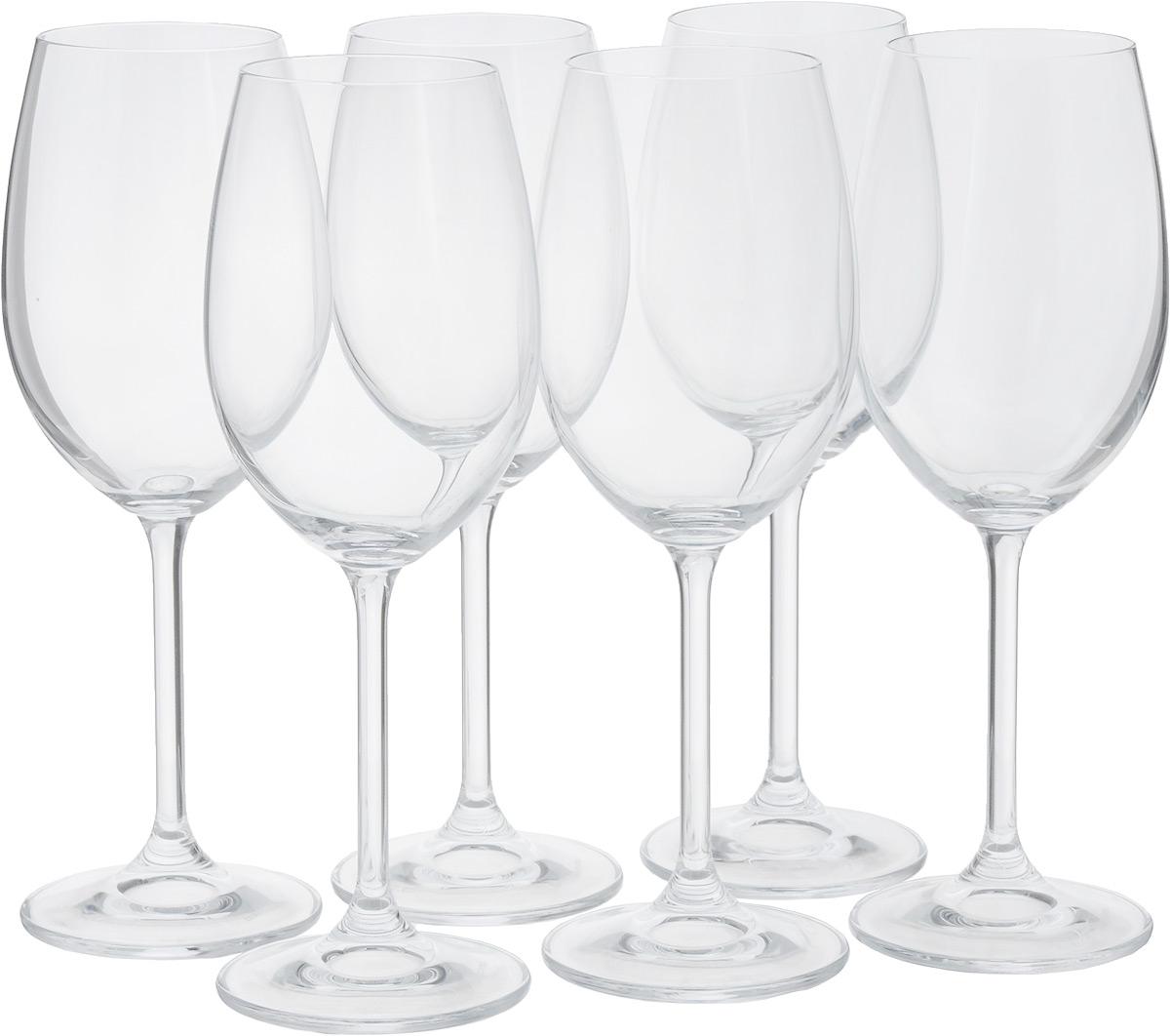 Набор бокалов для белого вина Tescoma Charlie, 350 мл, 6шт306420Набор Tescoma Charlie состоит из 6 бокалов, выполненных из прочного натрий-кальций-силикатного стекла. Изделия оснащены высокими ножками и предназначены для подачи белого вина. Они сочетают в себе элегантный дизайн и функциональность. Набор бокалов Tescoma Charlie прекрасно оформит праздничный стол и создаст приятную атмосферу за романтическим ужином. Такой набор также станет хорошим подарком к любому случаю. Можно мыть в посудомоечной машине.Высота бокала: 22 см.Диаметр бокала (по верхнему краю): 6 см.