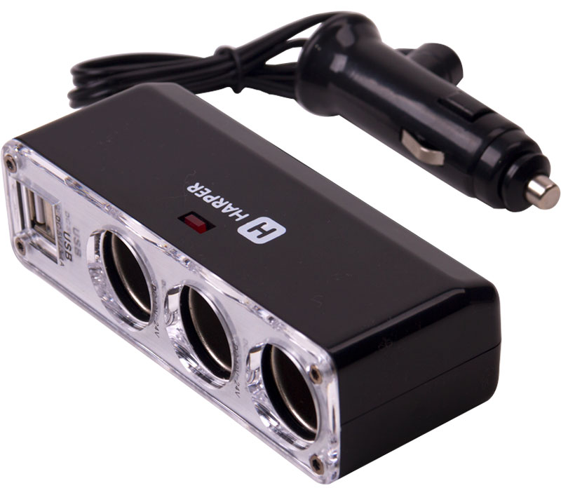 Harper DP-096, Black разветвитель гнезда прикуривателяH00001342Harper представляет DP-096 - разветвитель на 3 прикуривателя и 2 USB. Позволяет подключать пять различных устройства к сети одновременно.Максимальный ток потребления для USB: до 2А