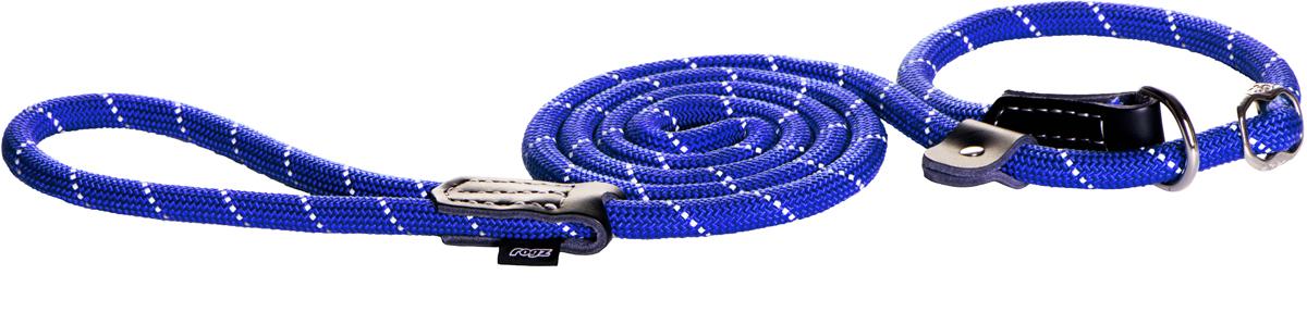 Поводок-удавка для собак Rogz Rope, цвет: синий, ширина 1,2 см. Размер LHLXR12BПоводок-удавка для собак Rogz Rope выполнен из очень мягкого, но прочного нейлона, который не причинит неудобства собаке. Высококачественная тесьма особого плетения, удивительно мягкая на ощупь, не стирает и не путает шерсть даже длинношерстным собакам. Особо прочный закругленный нейлон препятствует разгрызанию и деформации изделий, а узкая поверхность ошейников - полуудавок помогает при дрессуре, мешая собаке тянуть поводок.Выполненные по заказу литые кольца выдерживают значительные физические нагрузки и имеют хромирование, нанесенное гальваническим способом, что позволяет избежать коррозии и потускнения изделия.Светоотражающая нить, вплетенная в нейлоновую ленту, обеспечивает видимость животного в темное время суток.Элементы изделия выполнены из 100% кожи.
