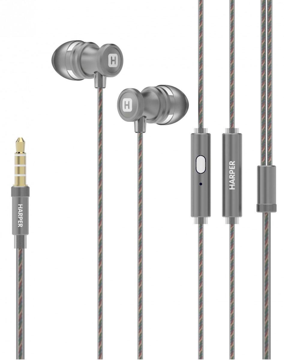 Harper HV-806, Grey наушники00-00001331Проводные стереонаушники Harper HV-806 имеют оптимальную для уха форму (выполнены в бионическомдизайне). Силиконовые накладки трех самых популярных размеров поставляются в комплекте - это позволит вамподобрать такой вариант, который будет наиболее комфортен при использовании наушников.Технические характеристики Harper HV-806 обеспечивают максимально качественную передачу звукапрослушиваемых композиций любого стиля. Довольны останутся и любители насыщенных басов. Встроенный в корпус наушников миниатюрный микрофон позволяет использовать Harper HV-806 в качестветелефонной гарнитуры - совершать, принимать и отклонять звонки, оставляя при этом руки свободными.Управление треками осуществляется при помощи всего одной кнопки на корпусе наушников. Специальныекомбинации нажатий подробно описаны в инструкции по эксплуатации.