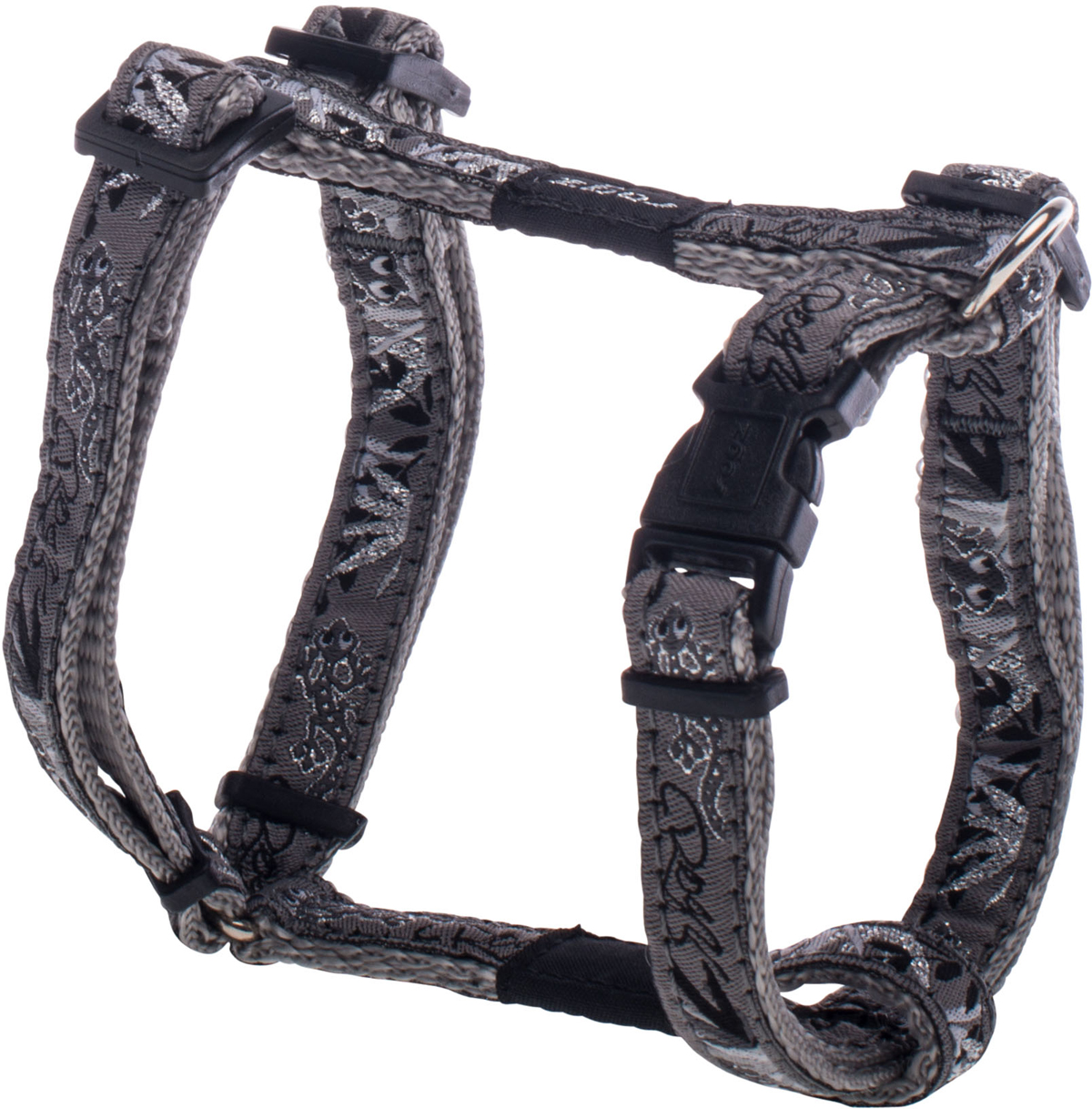 Шлейка для собак Rogz Fancy Dress, цвет: серый, ширина 1,1 смSJ01BSШлейка для собак Rogz Fancy Dress имеет необычный дизайн. Широкая гамма потрясающе красивых орнаментов на прочной тесьме поверх нейлоновой ленты украсит вашего питомца.Застегивается, не доставляя неудобство собаке.Специальная конструкция пряжки Rog Loc - очень крепкая(система Fort Knox). Замок может быть расстегнут только рукой человека.С помощью системы ремней изделие подгоняется под животного индивидуально.Необыкновенно крепкая и прочная шлейка.Выполненные по заказу литые кольца выдерживают значительные физические нагрузки и имеют хромирование, нанесенное гальваническим способом, что позволяет избежать коррозии и потускнения изделия.Легко можно прикрепить к ошейнику и поводку.
