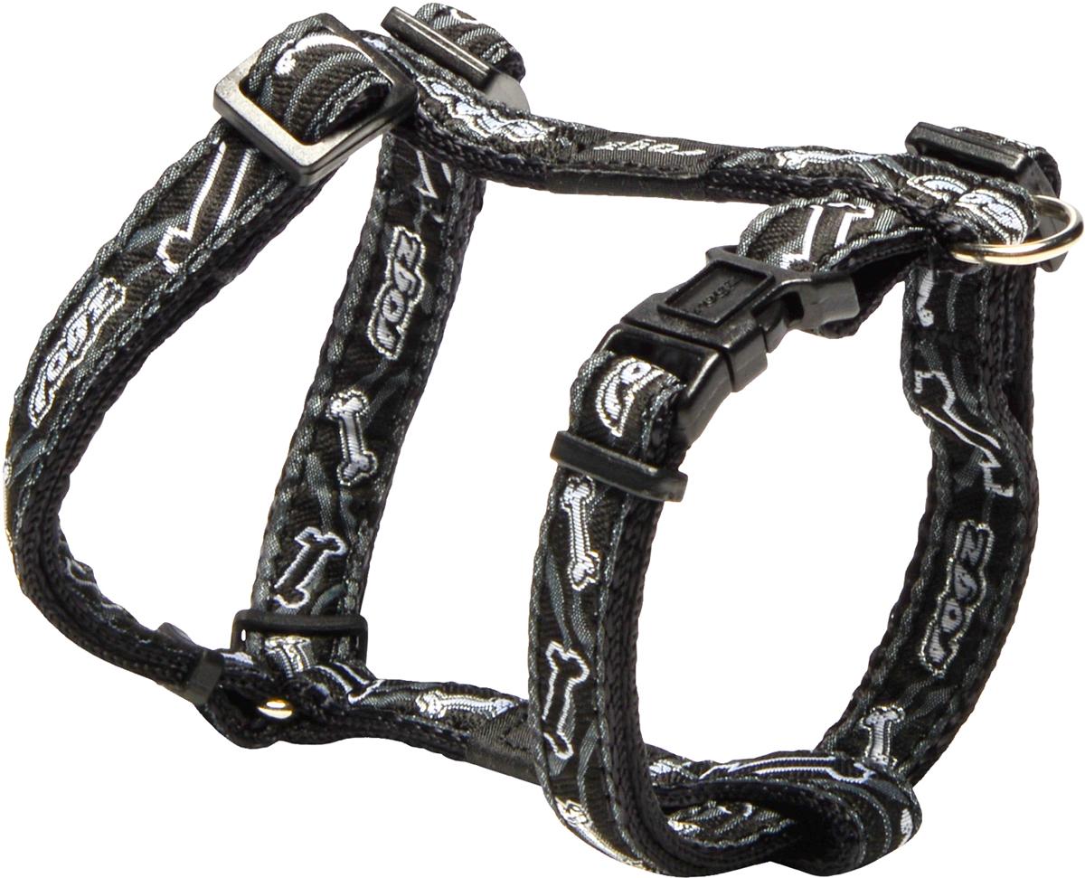 Шлейка для собак Rogz Fancy Dress, цвет: черный, ширина 1,1 смSJ01CBШлейка для собак Rogz Fancy Dress имеет необычный дизайн. Широкая гамма потрясающе красивых орнаментов на прочной тесьме поверх нейлоновой ленты украсит вашего питомца.Застегивается, не доставляя неудобство собаке.Специальная конструкция пряжки Rog Loc - очень крепкая(система Fort Knox). Замок может быть расстегнут только рукой человека.С помощью системы ремней изделие подгоняется под животного индивидуально.Необыкновенно крепкая и прочная шлейка.Выполненные по заказу литые кольца выдерживают значительные физические нагрузки и имеют хромирование, нанесенное гальваническим способом, что позволяет избежать коррозии и потускнения изделия.Легко можно прикрепить к ошейнику и поводку.