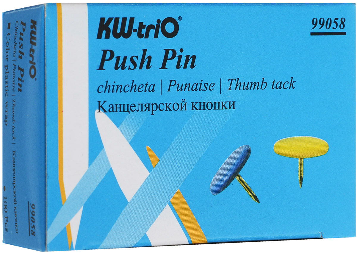 KW-Тrio Кнопки канцелярские цвет мультиколор 100 шт