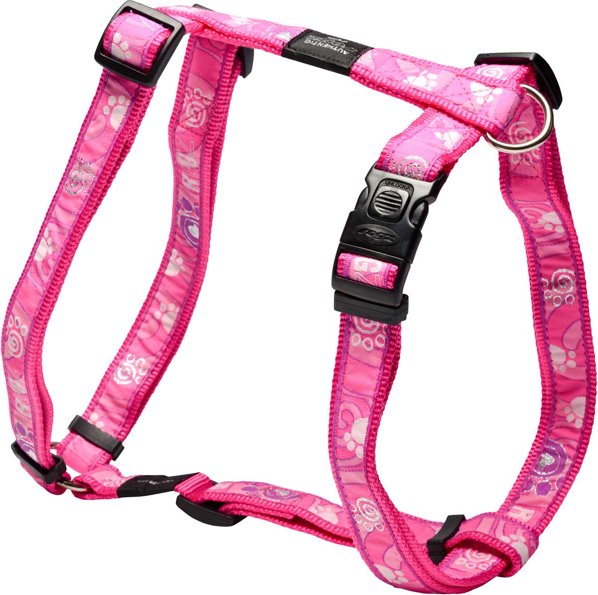 Шлейка для собак Rogz Fancy Dress, цвет: розовый, ширина 2,5 смSJ02CAШлейка для собак Rogz Fancy Dress имеет необычный дизайн. Широкая гамма потрясающе красивых орнаментов на прочной тесьме поверх нейлоновой ленты украсит вашего питомца.Застегивается, не доставляя неудобство собаке.Специальная конструкция пряжки Rog Loc - очень крепкая(система Fort Knox). Замок может быть расстегнут только рукой человека.С помощью системы ремней изделие подгоняется под животного индивидуально.Необыкновенно крепкая и прочная шлейка.Выполненные по заказу литые кольца выдерживают значительные физические нагрузки и имеют хромирование, нанесенное гальваническим способом, что позволяет избежать коррозии и потускнения изделия.Легко можно прикрепить к ошейнику и поводку.