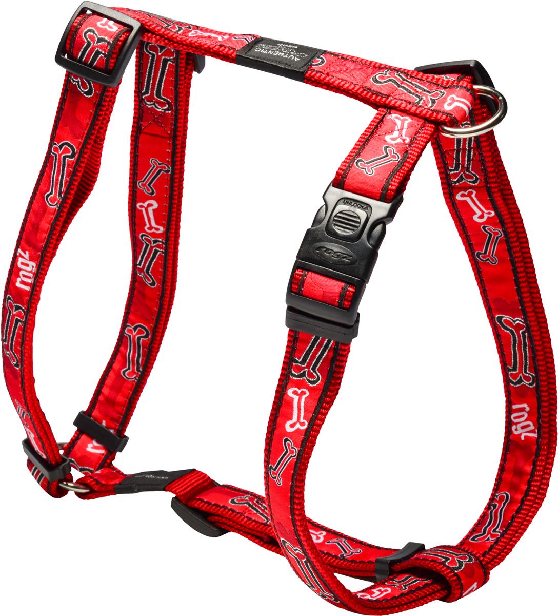 Шлейка для собак Rogz Fancy Dress, цвет: красный, ширина 2,5 смSJ02CCШлейка для собак Rogz Fancy Dress имеет необычный дизайн. Широкая гамма потрясающе красивых орнаментов на прочной тесьме поверх нейлоновой ленты украсит вашего питомца.Застегивается, не доставляя неудобство собаке.Специальная конструкция пряжки Rog Loc - очень крепкая(система Fort Knox). Замок может быть расстегнут только рукой человека.С помощью системы ремней изделие подгоняется под животного индивидуально. Размеры: от 23,5 до 39,5 в районе шеи животного, от 60 до 100 см в районе спины.Необыкновенно крепкая и прочная шлейка.Выполненные по заказу литые кольца выдерживают значительные физические нагрузки и имеют хромирование, нанесенное гальваническим способом, что позволяет избежать коррозии и потускнения изделия.Легко можно прикрепить к ошейнику и поводку.