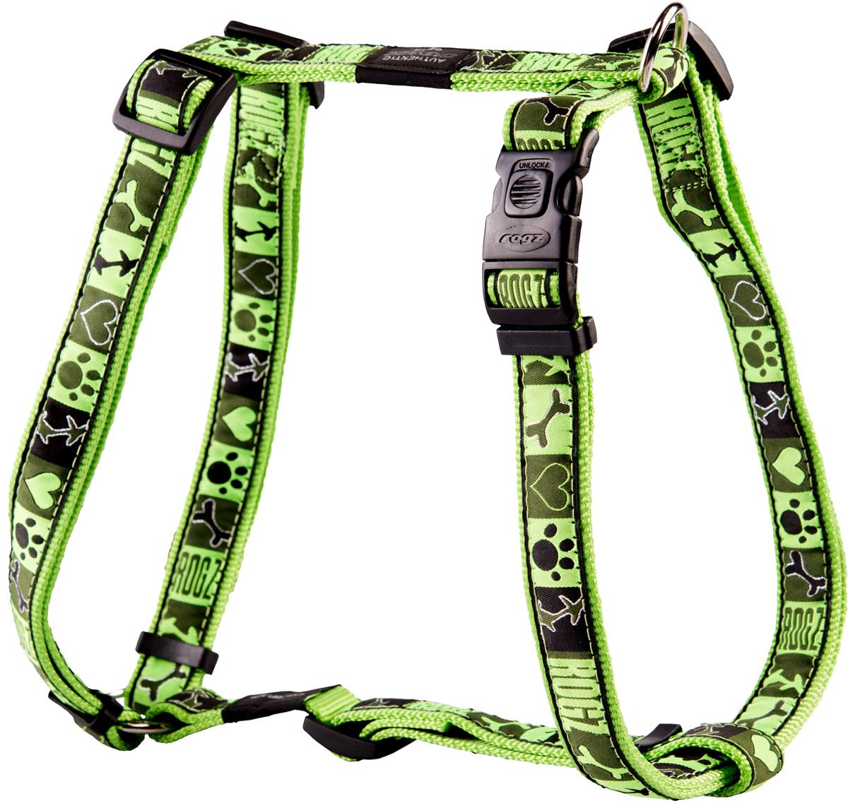 Шлейка для собак Rogz Fancy Dress, цвет: зеленый, ширина 2,5 смSJ02CFШлейка для собак Rogz Fancy Dress имеет необычный дизайн. Широкая гамма потрясающе красивых орнаментов на прочной тесьме поверх нейлоновой ленты украсит вашего питомца.Застегивается, не доставляя неудобство собаке.Специальная конструкция пряжки Rog Loc - очень крепкая(система Fort Knox). Замок может быть расстегнут только рукой человека.С помощью системы ремней изделие подгоняется под животного индивидуально.Необыкновенно крепкая и прочная шлейка.Выполненные по заказу литые кольца выдерживают значительные физические нагрузки и имеют хромирование, нанесенное гальваническим способом, что позволяет избежать коррозии и потускнения изделия.Легко можно прикрепить к ошейнику и поводку.