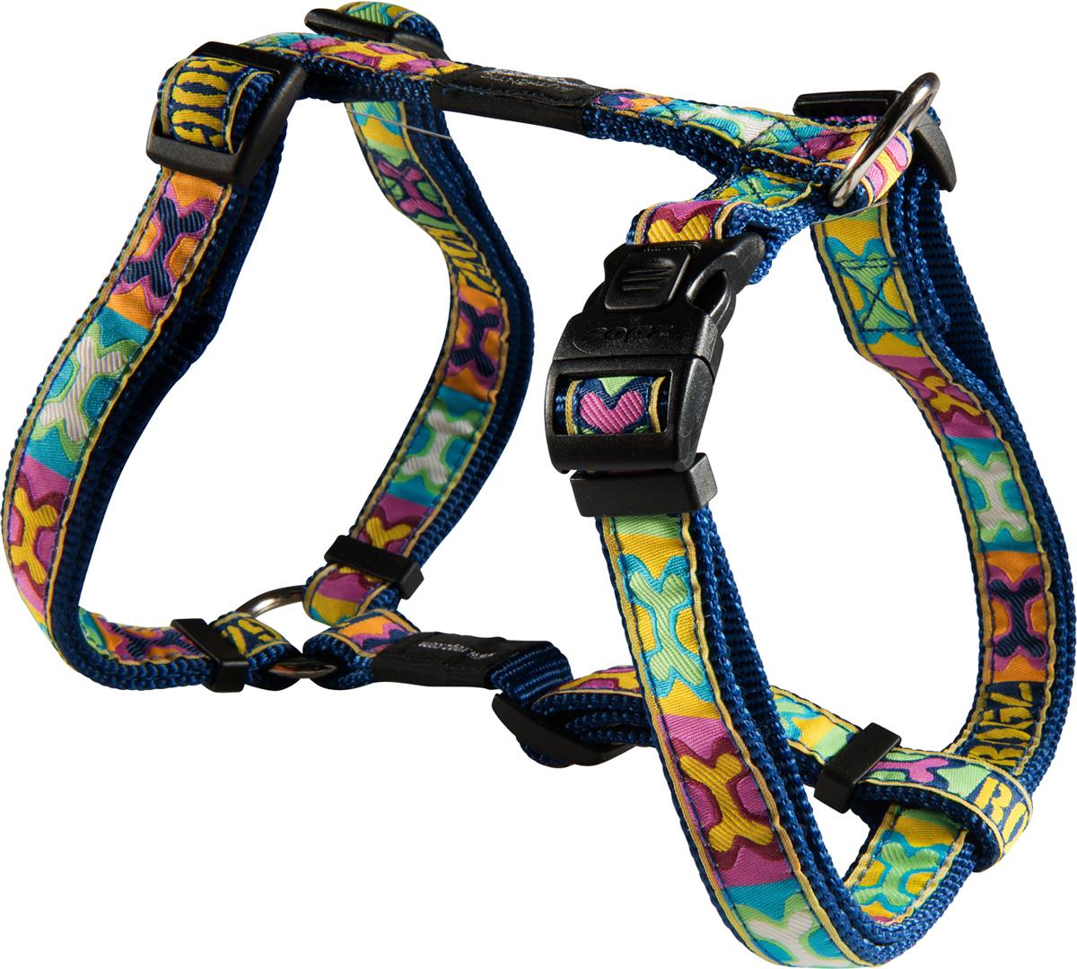 Шлейка для собак Rogz Fancy Dress, цвет: синий, ширина 2 смSJ03BWШлейка для собак Rogz Fancy Dress имеет необычный дизайн. Широкая гамма потрясающе красивых орнаментов на прочной тесьме поверх нейлоновой ленты украсит вашего питомца.Застегивается, не доставляя неудобство собаке.Специальная конструкция пряжки Rog Loc - очень крепкая(система Fort Knox). Замок может быть расстегнут только рукой человека.С помощью системы ремней изделие подгоняется под животного индивидуально.Необыкновенно крепкая и прочная шлейка.Выполненные по заказу литые кольца выдерживают значительные физические нагрузки и имеют хромирование, нанесенное гальваническим способом, что позволяет избежать коррозии и потускнения изделия.Легко можно прикрепить к ошейнику и поводку.