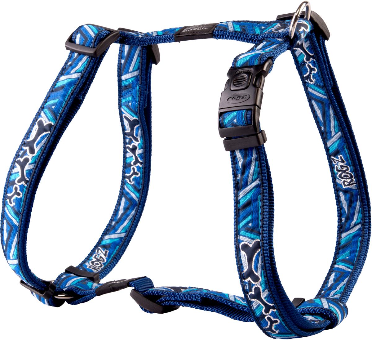 Шлейка для собак Rogz Fancy Dress, цвет: голубой, ширина 2 смSJ03CDШлейка для собак Rogz Fancy Dress имеет необычный дизайн. Широкая гамма потрясающе красивых орнаментов на прочной тесьме поверх нейлоновой ленты украсит вашего питомца.Застегивается, не доставляя неудобство собаке.Специальная конструкция пряжки Rog Loc - очень крепкая(система Fort Knox). Замок может быть расстегнут только рукой человека.С помощью системы ремней изделие подгоняется под животного индивидуально.Необыкновенно крепкая и прочная шлейка.Выполненные по заказу литые кольца выдерживают значительные физические нагрузки и имеют хромирование, нанесенное гальваническим способом, что позволяет избежать коррозии и потускнения изделия.Легко можно прикрепить к ошейнику и поводку.