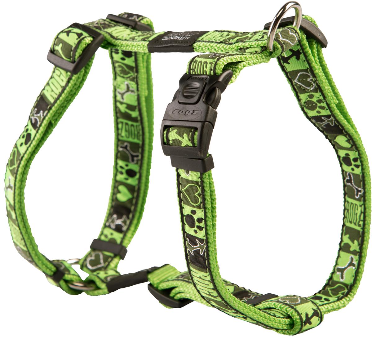 Шлейка для собак Rogz Fancy Dress, цвет: зеленый, ширина 2 смSJ03CFШлейка для собак Rogz Fancy Dress имеет необычный дизайн. Широкая гамма потрясающе красивых орнаментов на прочной тесьме поверх нейлоновой ленты украсит вашего питомца.Застегивается, не доставляя неудобство собаке.Специальная конструкция пряжки Rog Loc - очень крепкая(система Fort Knox). Замок может быть расстегнут только рукой человека.С помощью системы ремней изделие подгоняется под животного индивидуально.Необыкновенно крепкая и прочная шлейка.Выполненные по заказу литые кольца выдерживают значительные физические нагрузки и имеют хромирование, нанесенное гальваническим способом, что позволяет избежать коррозии и потускнения изделия.Легко можно прикрепить к ошейнику и поводку.