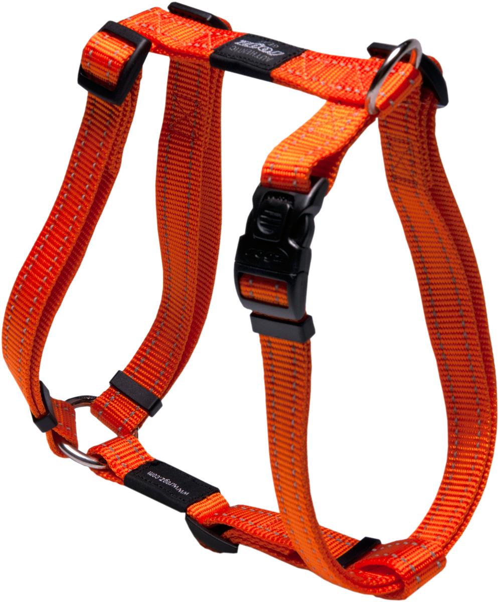 Шлейка для собак Rogz Utility, цвет: оранжевый, ширина 2,5 см. Размер XLSJ05DШлейка для собак Rogz Utility со светоотражающей нитью, вплетенной в нейлоновую ленту, обеспечивает лучшую видимость собаки в темное время суток. Специальная конструкция пряжки Rog Loc - очень крепкая (система Fort Knox). Замок может быть расстегнут только рукой человека. Технология распределения нагрузки позволяет снизить нагрузку на пряжки, изготовленные из титанового пластика, с помощью правильного и разумного расположения грузовых колец, благодаря чему, даже при самых сильных рывках, изделие не рвется и не деформируется.Выполненные специально по заказу ROGZ литые кольца гальванически хромированы, что позволяет избежать коррозии и потускнения изделия. Рекомендуемые породы, для которых подходит шлейка: ротвейлер, родезийский риджбек, лабрадор. Обхват груди собаки: 60-100 см. Обхват шеи собаки: 43-70 см.
