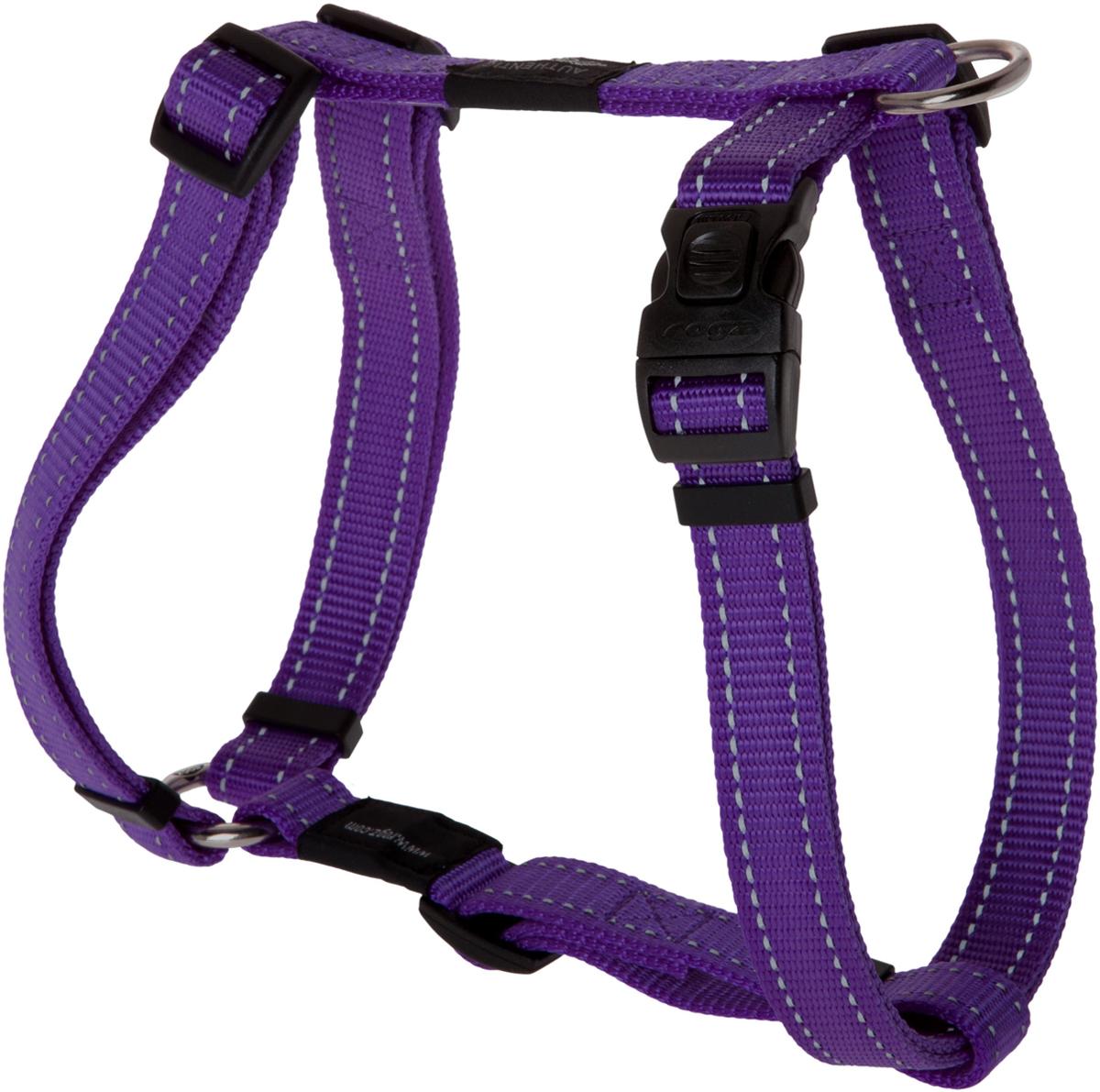 Шлейка для собак Rogz Utility, цвет: фиолетовый, ширина 2 см. Размер LSJ06EШлейка для собак Rogz Utility со светоотражающей нитью, вплетенной в нейлоновую ленту, обеспечивает лучшую видимость собаки в темное время суток. Специальная конструкция пряжки Rog Loc - очень крепкая (система Fort Knox). Замок может быть расстегнут только рукой человека. Технология распределения нагрузки позволяет снизить нагрузку на пряжки, изготовленные из титанового пластика, с помощью правильного и разумного расположения грузовых колец, благодаря чему, даже при самых сильных рывках, изделие не рвется и не деформируется.Выполненные специально по заказу ROGZ литые кольца гальванически хромированы, что позволяет избежать коррозии и потускнения изделия.