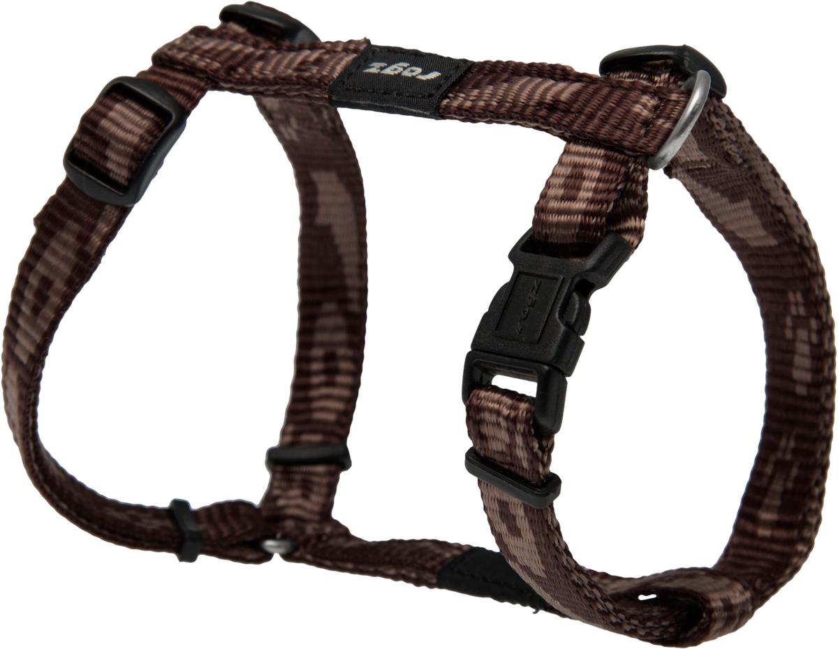 Шлейка для собак Rogz Alpinist, цвет: коричневый, ширина 1,1 см. Размер SSJ21JОсобо мягкая, но очень прочная шлейка для собак Rogz Alpinist обеспечит безопасность на прогулке даже самым активным собакам.Все соединения деталей имеют специальную дополнительную строчку для большей прочности.Специальная конструкция пряжки Rog Loc - очень крепкая (система Fort Knox). Замок может быть расстегнут только рукой человека. Технология распределения нагрузки позволяет снизить нагрузку на пряжки, изготовленные из титанового пластика, с помощью правильного и разумного расположения грузовых колец, благодаря чему, даже при самых сильных рывках, изделие не рвется и не деформируется.Выполненные специально по заказу Rogz литые кольца гальванически хромированы, что позволяет избежать коррозии и потускнения изделия.