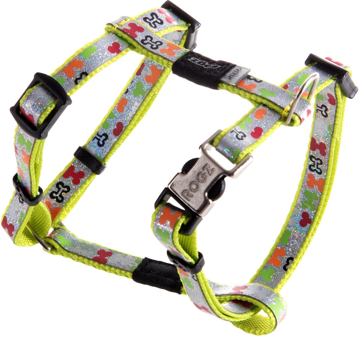 Шлейка для собак Rogz  Trendy , цвет: салатовый, ширина 0,8 см. Размер XS