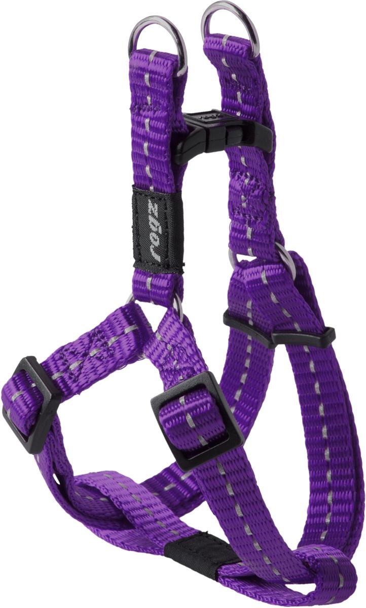 Шлейка разъемная для собак Rogz Utility, цвет: фиолетовый, ширина 1,1 см. Размер SSSJ14EРазъемная шлейка для собак Rogz Utility со светоотражающей нитью, вплетенной в нейлоновую ленту, обеспечивает лучшую видимость собаки в темное время суток. Специальная конструкция пряжки Rog Loc - очень крепкая (система Fort Knox). Замок может быть расстегнут только рукой человека. Технология распределения нагрузки позволяет снизить нагрузку на пряжки, изготовленные из титанового пластика, с помощью правильного и разумного расположения грузовых колец, благодаря чему, даже при самых сильных рывках, изделие не рвется и не деформируется.Особые контурные пластиковые компоненты.Выполненные специально по заказу Rogz литые кольца гальванически хромированы, что позволяет избежать коррозии и потускнения изделия.