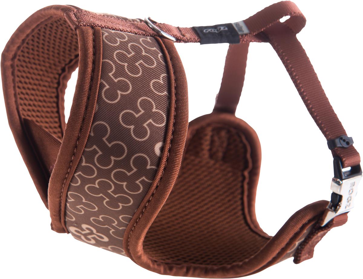 Шлейка-манишка для собак Rogz  Trendy , цвет: коричневый. Размер S