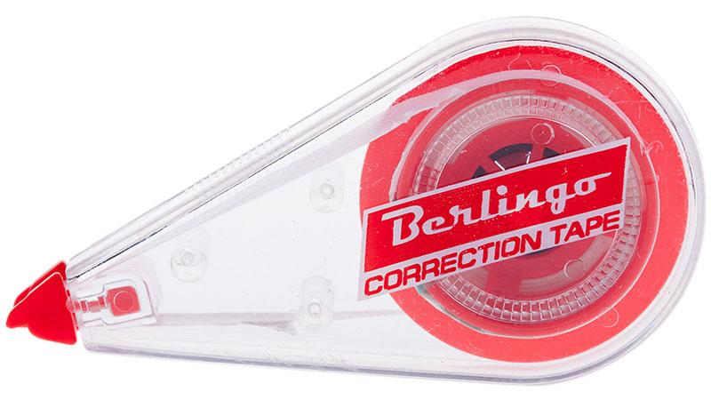 Berlingo Корректирующая лента 5 х 6000 ммFKs_06011Корректирующая лента Berlingo будет незаменима на любом рабочем столе. Ширина ленты - 5 мм, длина - 6 м.Полупрозрачный корпус позволяет визуально оценить расход ленты. Подходит для машинописного и рукописного текста. Лента точно и плотно покрывает строку. Не требует времени на высыхание.
