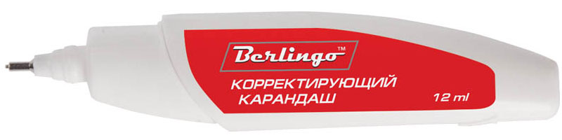 Berlingo Корректирующий карандаш 12 млFKk_12021Корректирующий карандаш Berlingo с металлическим наконечником применяется для точечных и мелких исправлений. Подходит для любого типа бумаги и чернил. Металлический наконечник обеспечивает оптимальную подачу корректирующей жидкости. Быстро сохнет, легко наносится. Не содержит вредных и токсичных элементов, не вызывает аллергических реакций.