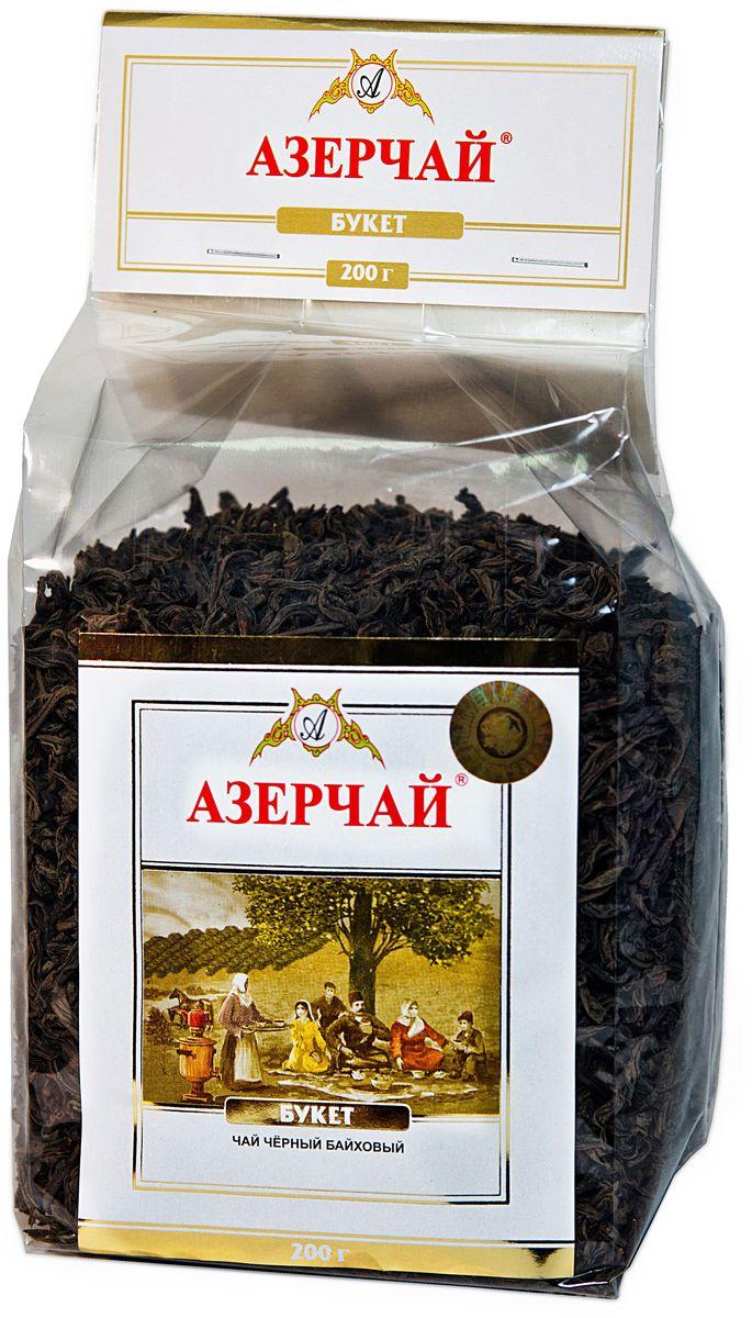 Азерчай Букет чай черный листовой, 200 г4630006820973Чай черный байховый крупнолистовой высшего сорта. Смесь чаев из регионов Азербайджана Ленкоран и Астара. Способ приготовления: заварить из расчета 1 чайная ложка на чашку. Настаивать 5-6 минут.