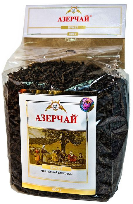 Азерчай Букет чай черный листовой, 400 г4630006820980Чай черный байховый крупнолистовой высшего сорта. Смесь чаев из регионов Азербайджана Ленкоран и Астара. Способ приготовления: заварить из расчета 1 чайная ложка на чашку. Настаивать 5-6 минут.