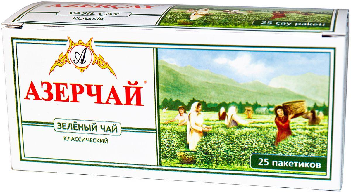 Азерчай чай зеленый в пакетиках сашетах, 25 шт4630006823387Чай зеленый, пакетированный с конвертом. Способ приготовления: положить в чашку по одному пакетику на человека. Залить кипятком и настаивать 2-3 минуты.