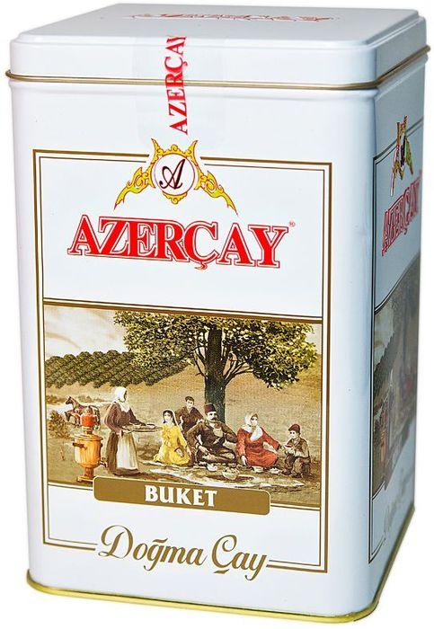 Azercay Buket чай черный листовой, 250 г4760062100877Чай черный байховый крупнолистовой высшего сорта. Смесь чаев из регионов Азербайджана Ленкоран и Астара. Способ приготовления: заварить из расчета 1 чайная ложка на чашку. Настаивать 5-6 минут.