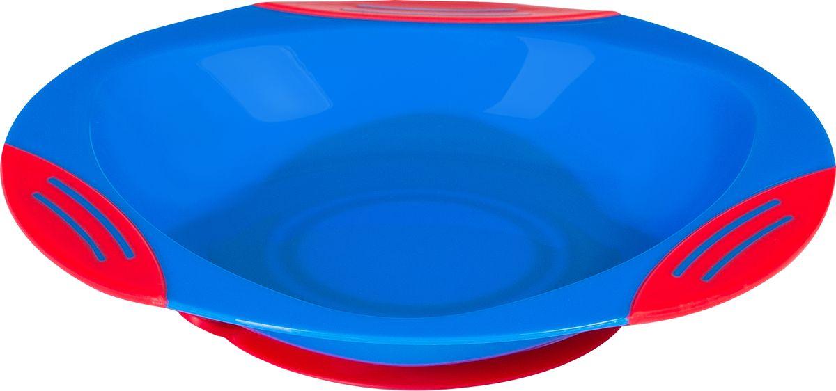 BabyOno Тарелка на присоске цвет синий красный1020Детская тарелочка BabyOno с удобной присоской идеально подойдет для кормления малыша и обучения его самостоятельному приему пищи.Тарелочка выполнена из безопасного прозрачного полипропилена, не содержащего Бисфенол А. Специальная резиновая присоска фиксирует тарелку на столе, благодаря чему она не упадет, еда не прольется, а ваш малыш будет доволен. Широкие бортики тарелочки не позволят еде просыпаться или пролиться.