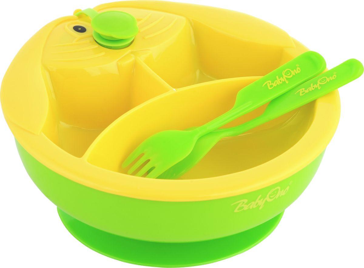 BabyOno Тарелка с подогревающим дном цвет желтый зеленый237Практичная и функциональная тарелка с подогревающим дном BabyOno станет незаменимым помощником при кормлении малыша. Подогреваемое дно миски позволяет дольше поддерживать соответствующую температуру пищи - достаточно наполнить подставку тарелки теплой водой, и она будет согревать пищу, что позволит малышу не спешить и сделает кормление более комфортным для родителей. Три секции позволяют разделить пищу, а присоска на дне предотвращает перемещение миски по столу. Такая тарелка идеально подойдет для освоения навыков самостоятельного приёма пищи. Она изготовлена из безопасных материалов, предназначенных для контакта с пищей. В комплект входят столовые приборы - ложка и вилка.