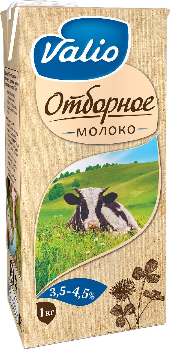 Valio Отборное молоко 3,5-4,5%, 1 л900255Цельное молоко, пищевая ценность на 100 г продукта: белков – 3 г; углеводов – 4,7 г; жиров – 3,5 г-4,5 г.
