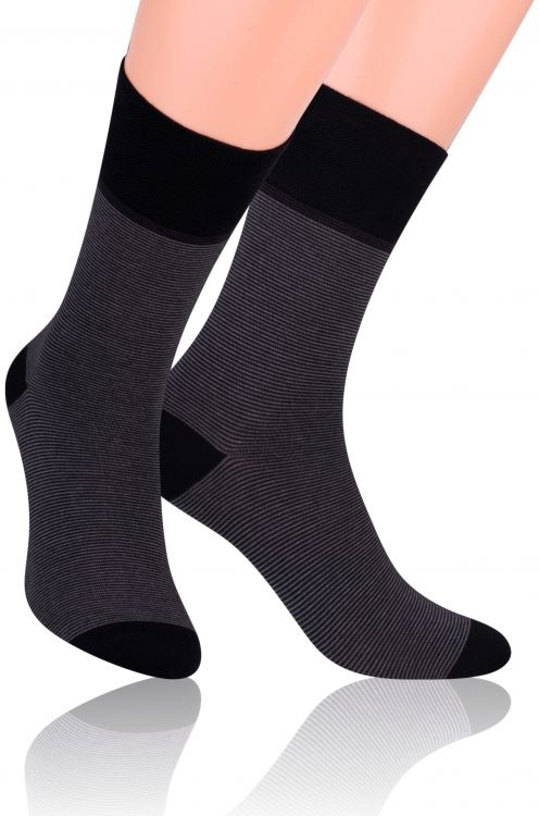 Носки мужские Steven, цвет: черный, темно-серый. 056 (JC44). Размер 45/47