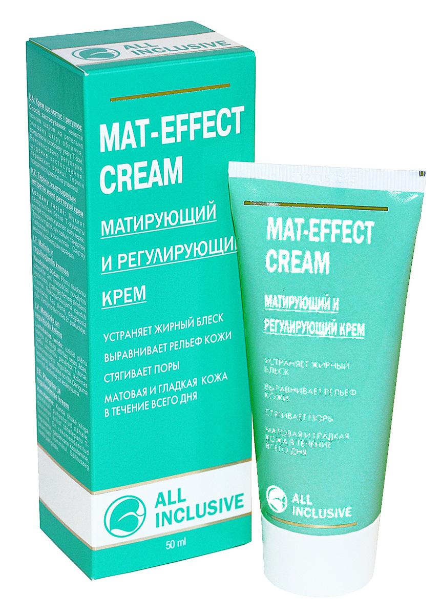 All Inclusive Mat-Effect Cream- матирующий и регулирующий крем, 50 мл200103Специально создан для правильного ухода за жирной кожей с целью снижения риска образования комедонов и уменьшения жирности кожи. Деликатно устраняет жирный блеск и тусклость кожи, выравнивает и освежает кожу, обеспечивает тройной эффект: регулирует работу сальных желез, сужает расширенные поры, витаминизирует, восстанавливает и омолаживает кожу. Растительные экстракты алоэ, конского каштана, лимона и ромашки уменьшают избыточную продукцию кожного сала. Богатое активными веществами масло рыжика и карбамид регулируют увлажнение и защищают сухие зоны комбинированной кожи от потери влаги. D-пантенол и витамин Е сохраняют естественный липидный баланс кожи. Крем обеспечивает длительный матирующий эффект, стимулирует собственные защитные функции кожи, предохраняет от воздействия свободных радикалов, подтягивает, восстанавливает эпидермальный барьер кожи и защищает ее от негативных факторов.