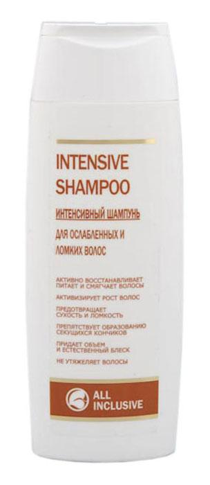 All Inclusive Intensive Shampoo - интенсивный шампунь для ослабленных и ломких волос, 250 мл200601Мягкий шампунь специально разработан для слабых, тусклых, ломких волос, утративших жизненную силу и нуждающихся в восстановлении. Бережно и тщательно промывает волосы и кожу головы, оживляет сухие и поврежденные волосы, препятствует сечению кончиков. D-пантенол восстанавливает поврежденные волосы, укрепляет корни, благотворно влияет на волосяную луковицу, повышая скорость роста волос, замедляющуюся с возрастом. Кератин укрепляет структуру волос, предотвращая их разрушение, возвращает волосам блеск, силу и объем. Кофеин активизирует кровообращение кожного покрова головы. Крапива укрепляет корни волос, ускоряет их рост, устраняет сухость, ломкость и выпадение волос, придает волосам здоровый вид, эластичность и мягкость.