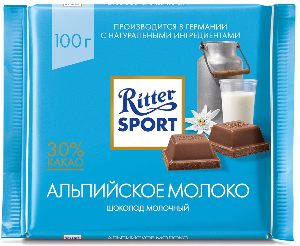 Ritter Sport Альпийское молоко Шоколад молочный с альпийским молоком, 100 г шоколад ritter sport темный с мятной начинкой 100г