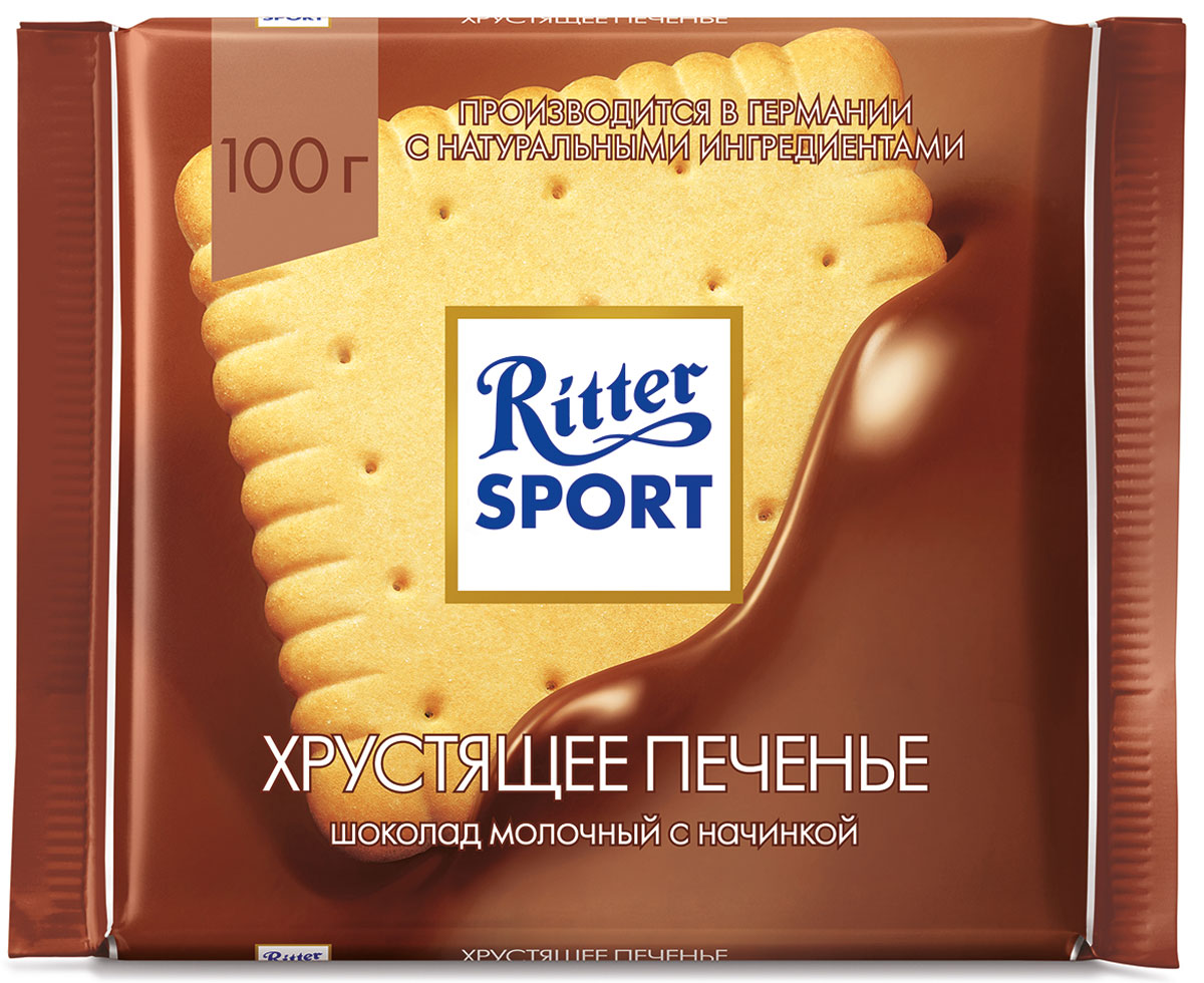 Ritter Sport Хрустящее печенье шоколад молочный с начинкой и печеньем, 100 г ritter sport цельный лесной орех шоколад темный с цельным обжаренным орехом лещины 100 г