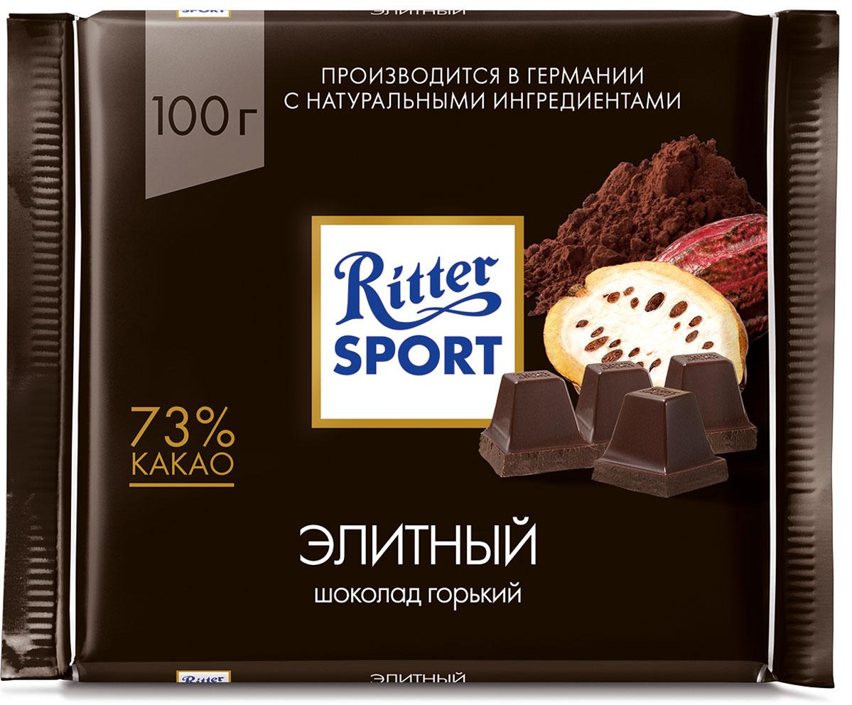 Ritter Sport Шоколад горький Элитный 73% какао, 100 г4000417260000Элитный горький шоколад.Пищевая ценность на 100 г: белки - 9 г, углеводы - 25 г, жиры - 49 г, в том числе насыщенные жирные кислоты - 29,31 г, в том числе трансизомеры ненасыщенных жирных кислот - 0,15 г.