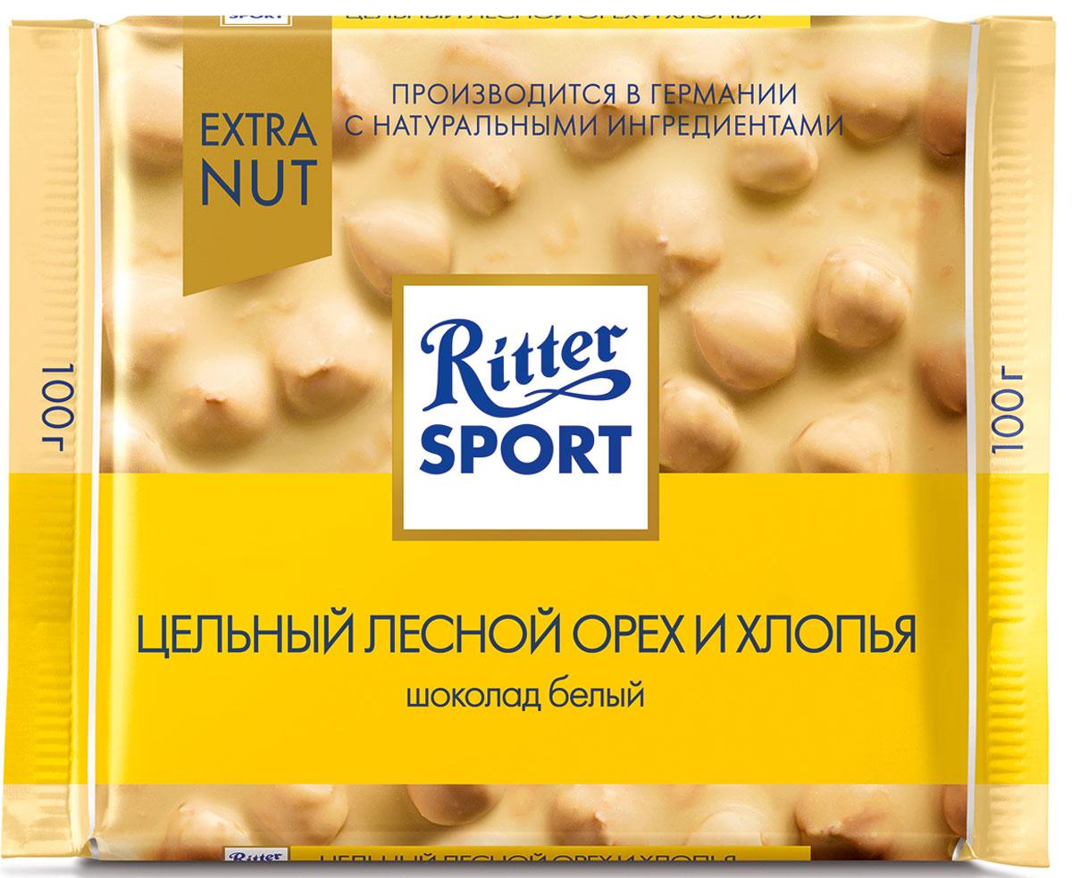 Ritter Sport Цельный лесной орех и хлопья шоколад белый с цельным обжаренным орехом лещины и хлопьями, 100 г ritter sport цельный лесной орех шоколад темный с цельным обжаренным орехом лещины 100 г