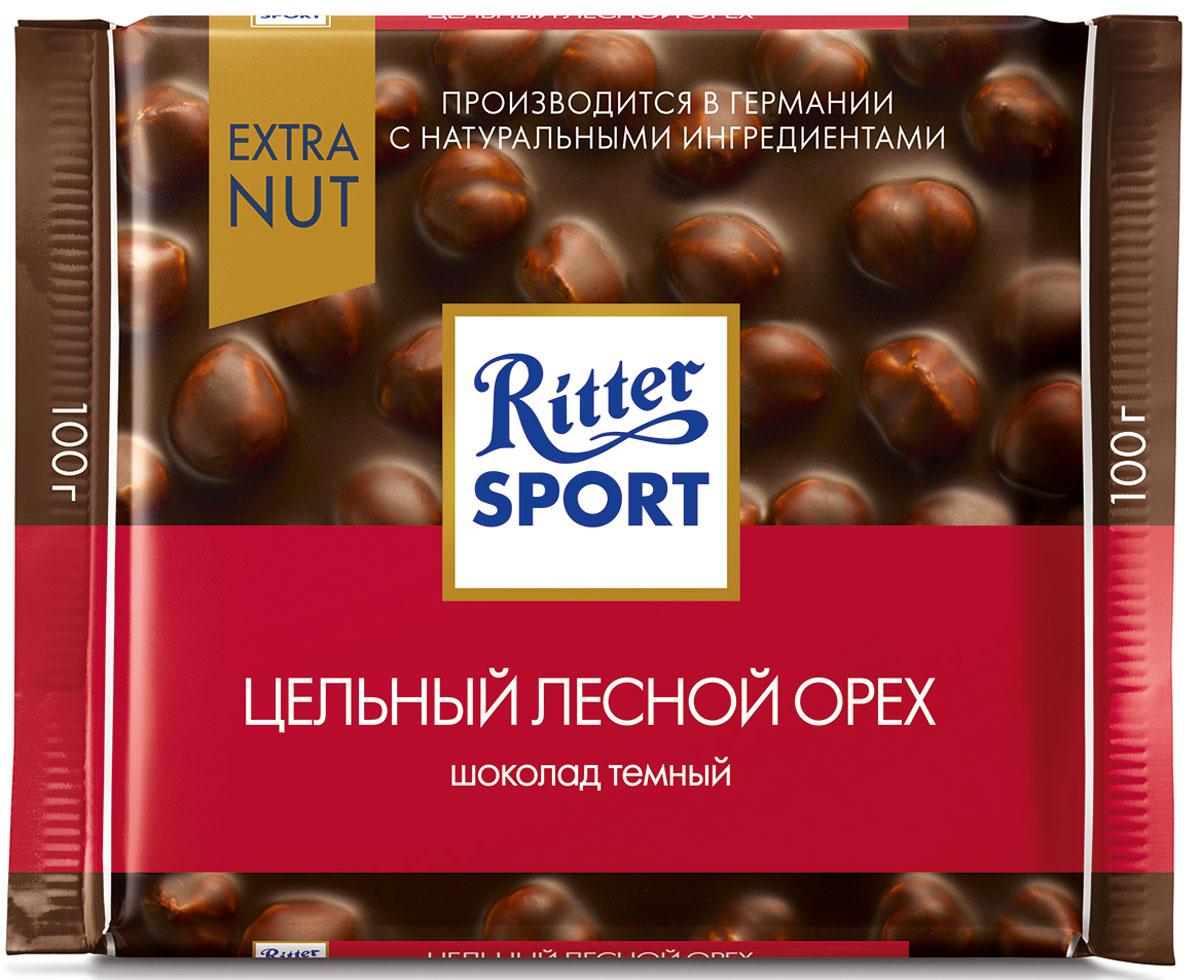 Ritter Sport Цельный лесной орех шоколад темный с цельным обжаренным орехом лещины, 100 г шоколад ritter sport темный с мятной начинкой 100г