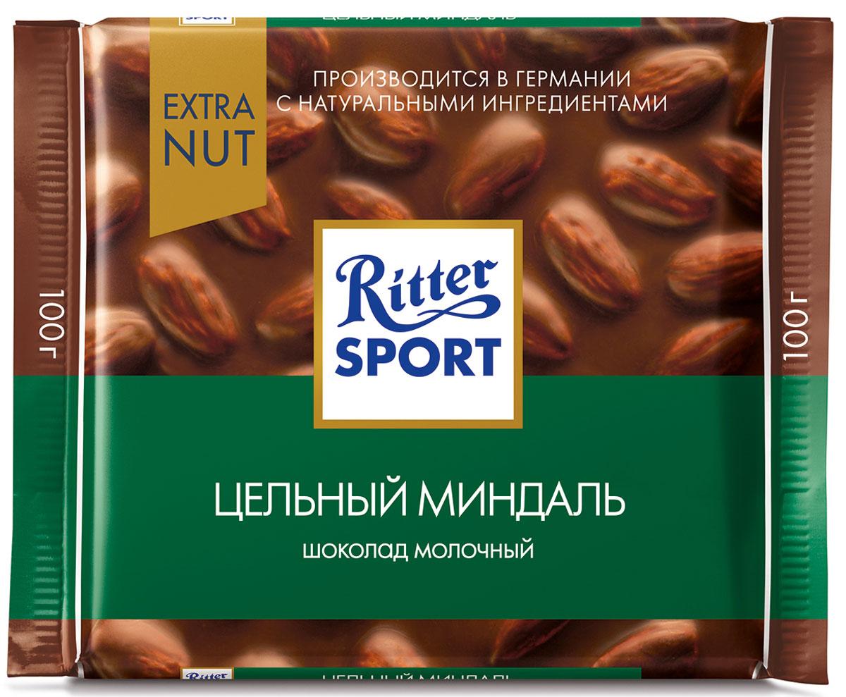 Ritter Sport Цельный миндаль Шоколад молочный с цельным миндалем, 100 г ritter sport цельный лесной орех шоколад темный с цельным обжаренным орехом лещины 100 г