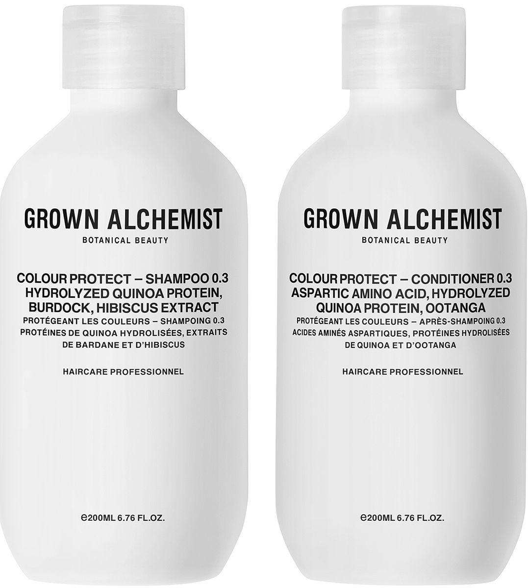 Grown Alchemist Набор для окрашенных волос: кондиционер, шампунь, 2 х 200 млGRA0175Набор для окрашенных волос: кондиционер для окрашенных волос 200 мл, шампунь для окрашенных волос 200 мл