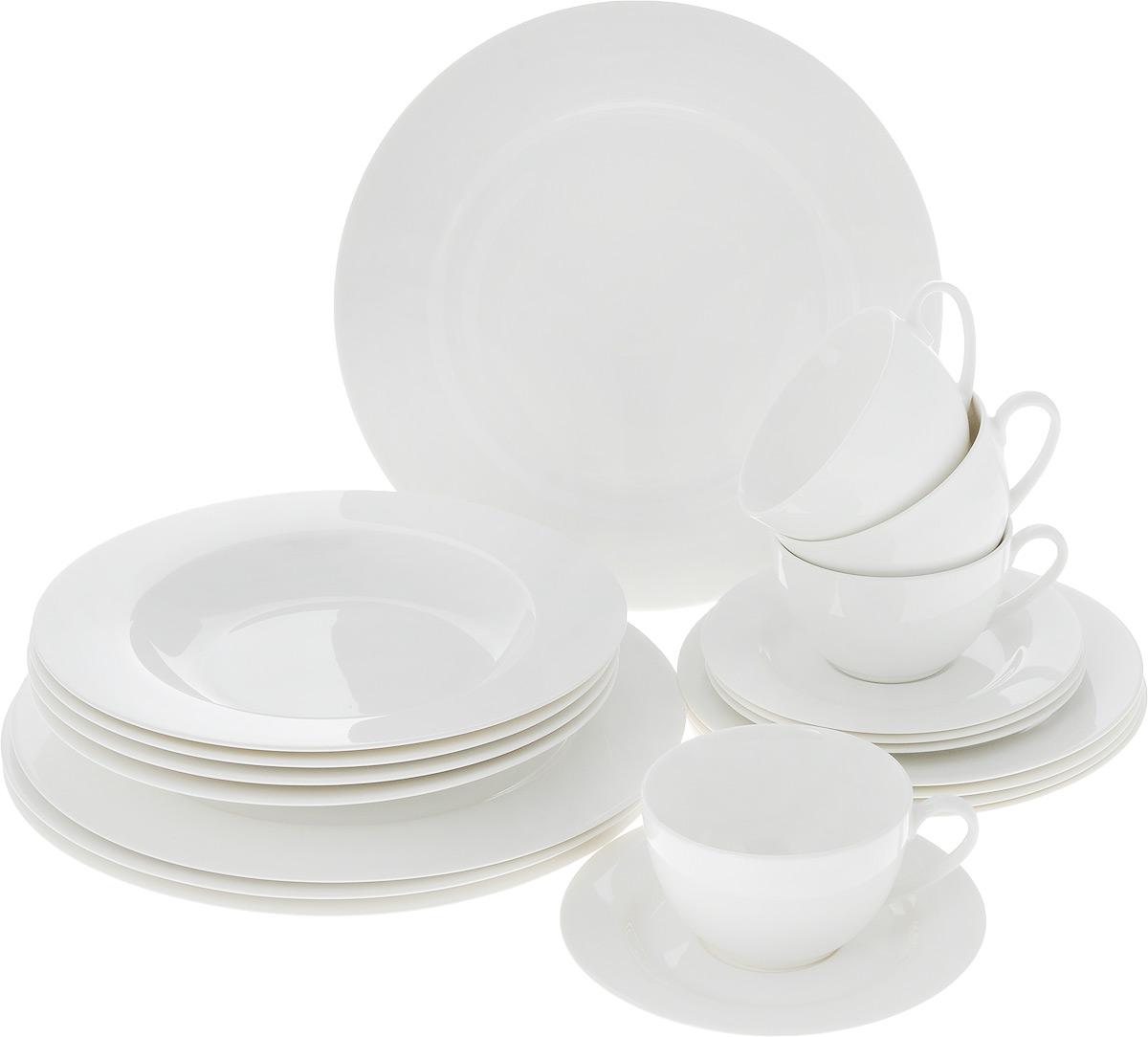 Набор столовой посуды Классика, 20 предметов. WO-010WO-010Набор столовой посуды Классика состоит из 4 обеденных тарелок, 4 суповых тарелок, 4 десертных тарелок, 4 блюдец и 4 чашек. Изделия выполнены из фарфора белоснежного цвета. Посуда отличается прочностью, гигиеничностью и долгим сроком службы, она устойчива к появлению царапин. Такой набор прекрасно подойдет как для повседневного использования, так и для праздников или особенных случаев. Такой набор столовой посуды - это не только яркий и полезный подарок для родных и близких, а также великолепное дизайнерское решение для вашей кухни или столовой. Можно использовать в микроволновой печи и мыть в посудомоечной машине. Диаметр суповой тарелки: 23 см. Высота суповой тарелки: 3 см.Диаметр обеденной тарелки: 27 см. Диаметр десертной тарелки: 19 см. Диаметр блюдца: 15,5 см. Объем чашки: 250 мл.Диаметр чашки (по верхнему краю): 9,5 см.Высота чашки: 6 см.